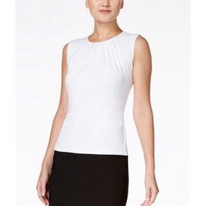 Calvin Klein NWT White Pleat Neck Sleevless Shell
